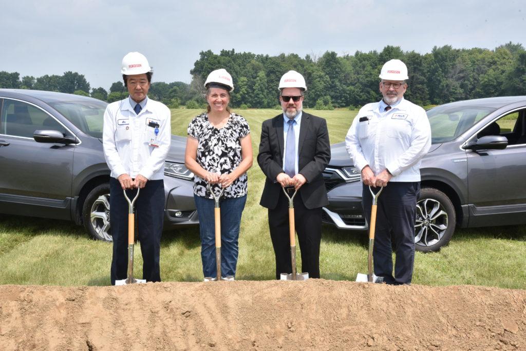 (left to right) Akihiko Hayashi, TS Tech Americas President; Susan Huhn, County Council President; Corey Murphy, EDC President, Scott Hepner, TS Tech Americas EVP